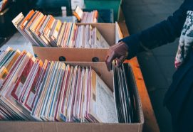 selection of vinyl records in boxes